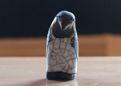 Hand-made Raku ceramic King penguin