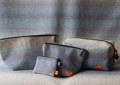 A small selection of our hand-made tweed products in Falkland Seascape